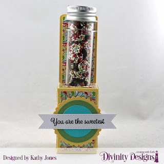 Divinity Designs Stamp Set: Treat Tag Sentiments 2, Custom Dies: Stamp Tube Treat, Scalloped Circles, Circles, Paper Collection: Birthday Bash, Large Test Tubes