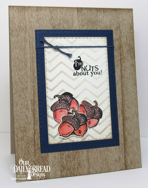 ODBD Autumn Blessings, ODBD Thankful Song, ODBD Custom Fall Leaves and Acorn Dies, ODBD Custom Double Stitched Rectangles Dies, Card Designer Angie Crockett