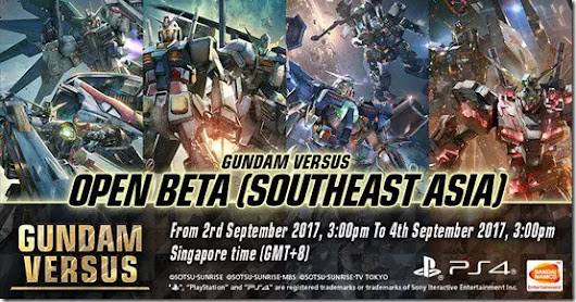 Open date of gundam versus open beta for southeast Asia is revealed