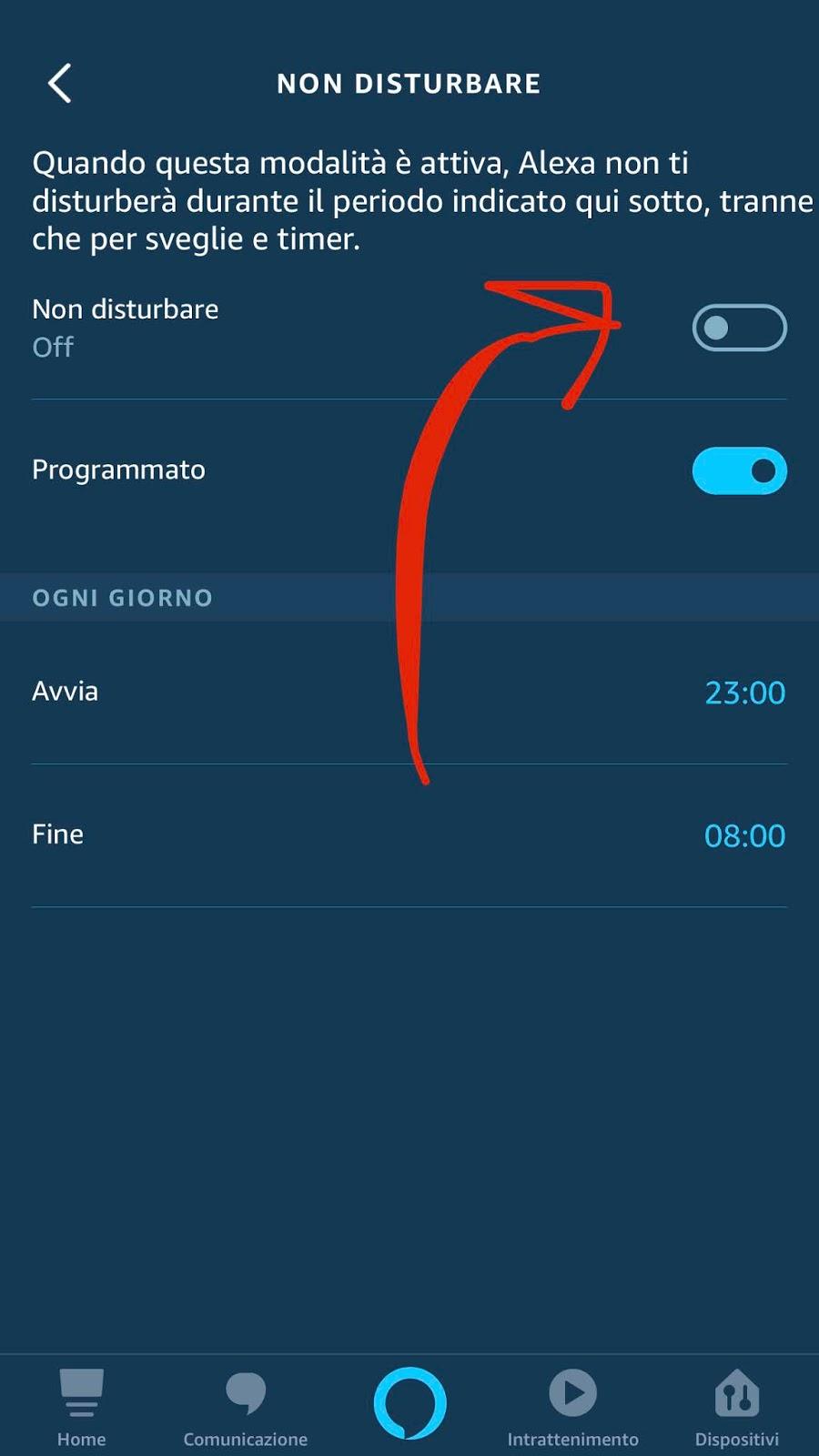 Come attivare la modalità non disturbare ad Alexa