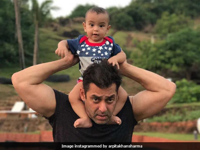 Salman Khan and his nephew Ahil Sharma New Photo Uploaded  by Arpita Khan Sharma