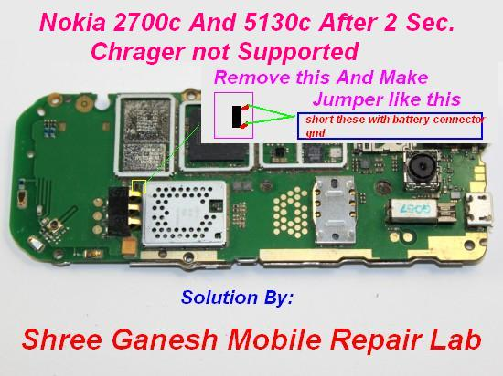 after 2 Sec Nokia 2700 And 5130 charger not supported Solution