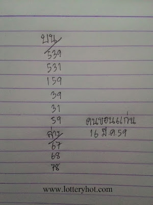 เลขเด็ด หวยคนขอนแก่น เลขเด็ดหวยดัง งวด 16/3/59 (ผลงานเข้า 3 ตัวเต็มๆ)
