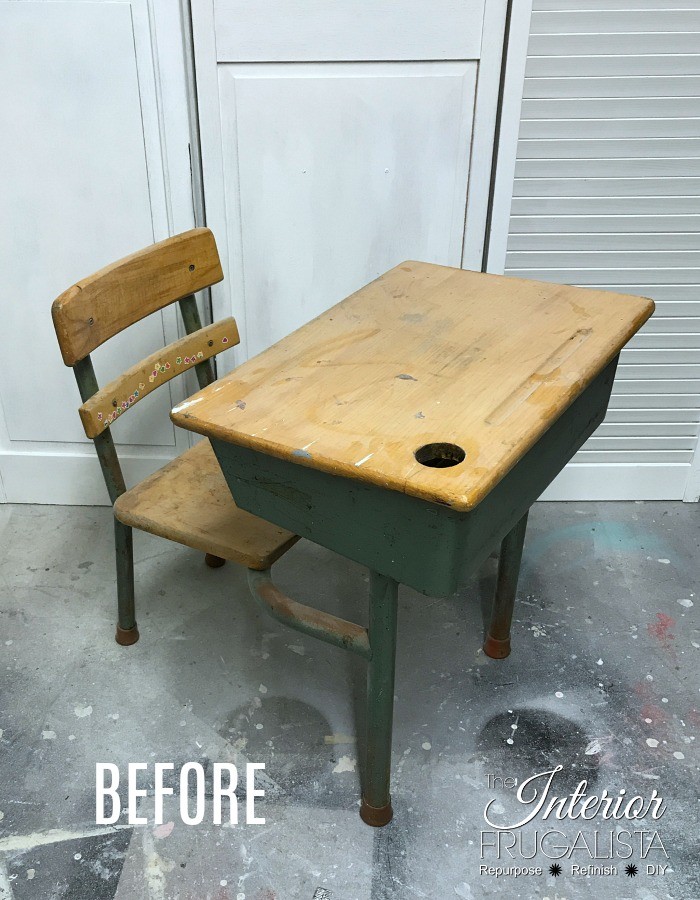 How to upcycle a vintage metal and wood classroom desk with bright turquoise paint and a whitewash finish plus a DIY chalkboard top writing slate.