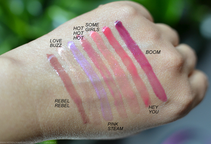 Marc Jacobs Beauty Enamored HiShine Lip Lacquers Lipgloss Swatches Rebel Rebel Love Buzz Pink Steam Hot Hot Hot Some Girls Hey You Boom