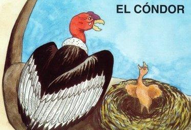 Dibujo de un cóndor junto al nido de su bebé