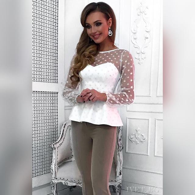 Μακρυμάνικη γυναικεία άσπρη μπλούζα ABINA WHITE