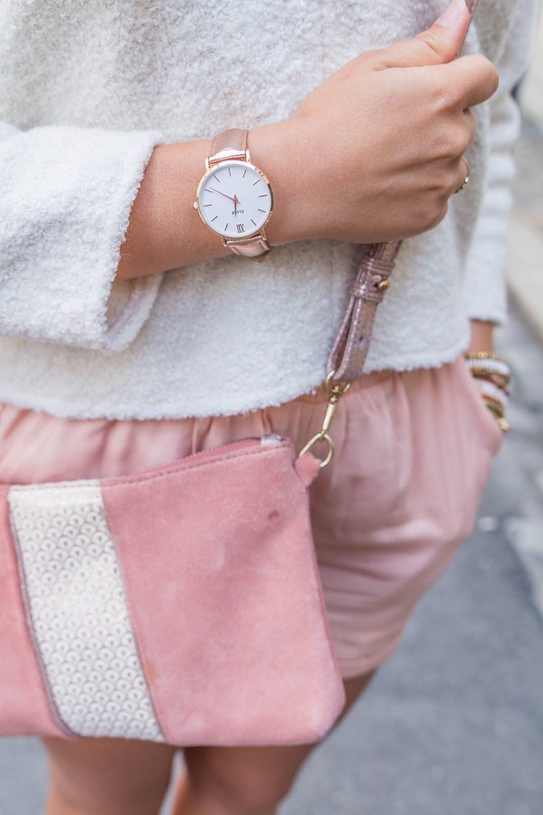 Tenue rose pastel métalic