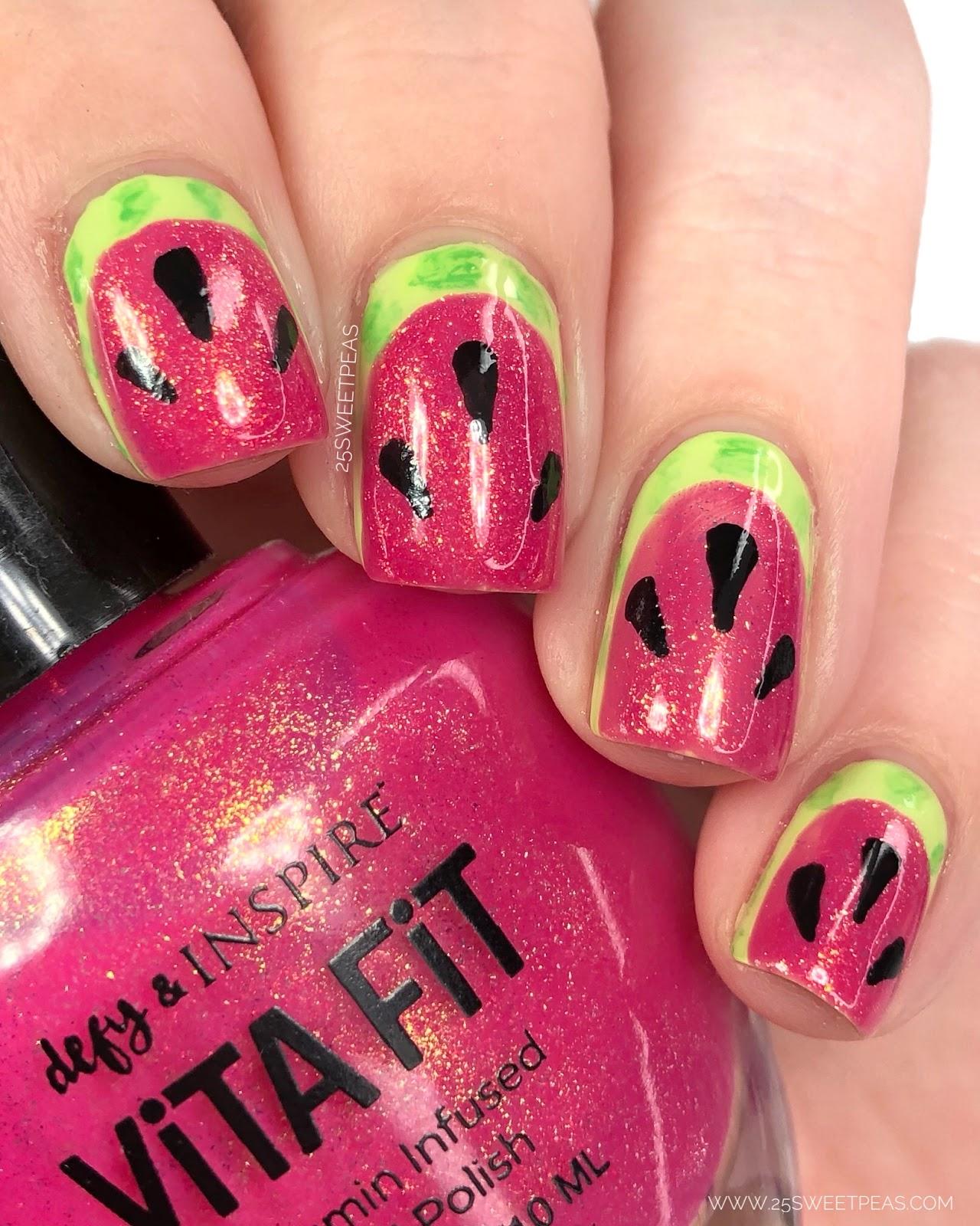 Easy Watermelon Nail Art - 25 Sweetpeas