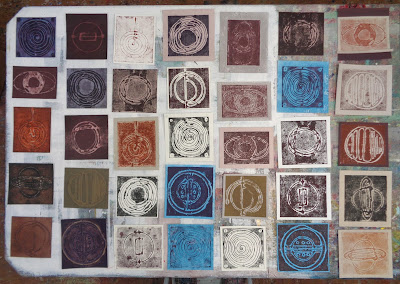 collagraph plates & prints for upcoming shat at the Library gallery in Drumheller, AB
