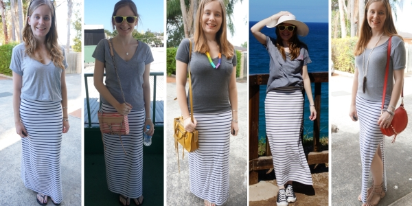 stripe maxi skirt and grey tees 5 ways to wear with bright bags | awayfromtheblue