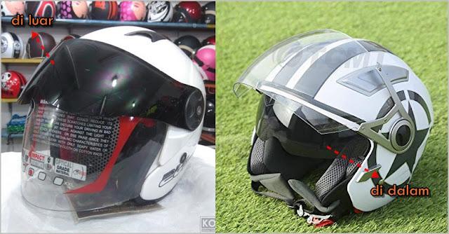 double visor di luar vs double visor di dalam