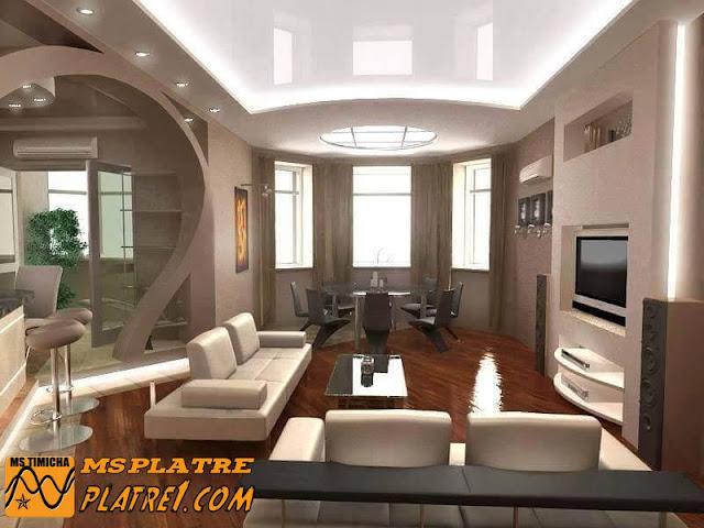 Moderne décor de TV  et arc et faux plafond d'un salon