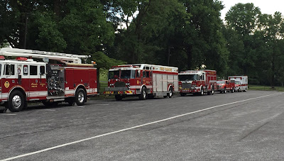 Fire trucks parked at Ephrata Cloister