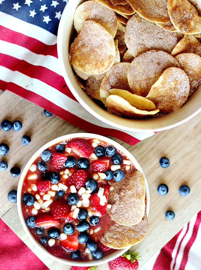 Red, White, and Blue Sweet Salsa + Chips