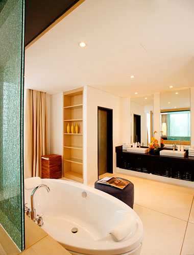 Modern bathroom inside of modern villa on Phuket