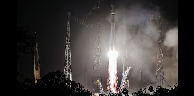 Arianespace has successfully launched a Soyuz ST-B rocket into orbit carrying two latest navigation satellites for Europe's Galileo network. Liftoff occurred as planned at 4:48 a.m. EDT (8:48 GMT) from the Soyuz Launch Complex (ELS) in Sinnamary, French Guiana. Credit: Arianespace