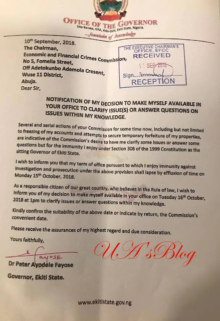 Fayose writes EFCC, reveals when he will report for questioning