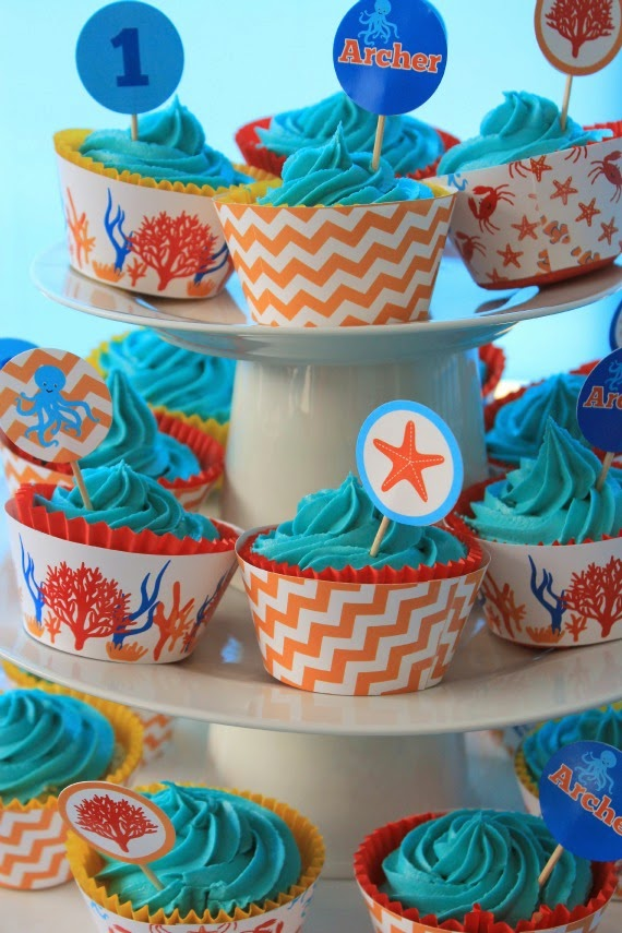 image of ocean under sea cupcakes