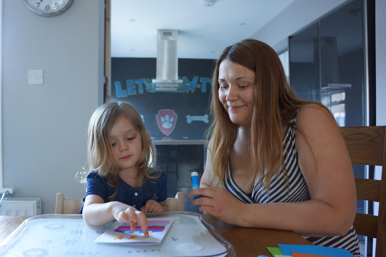 mummy and toddler daughter crafting birthday cards together