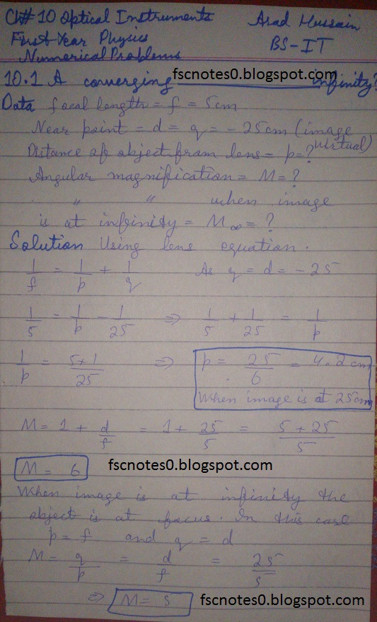 F.Sc ICS Notes: Physics XI: Chapter 10 Optical Instruments Numerical Problems Asad Hussain