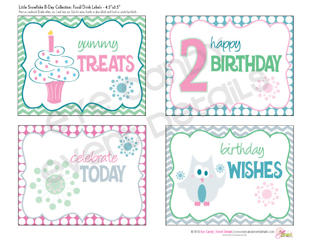 happy birthday, snowflake birthday, drink labels, winter birthday theme