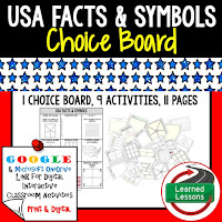 Civics and Government Digital Learning Choice Boards, Google Lessons, US Facts and Symbols