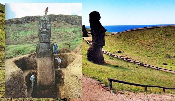 patung moai hasil penggalian