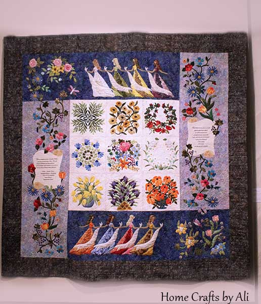 lds young women values on flowered quilt