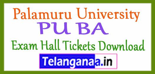 Palamuru University PU BA Exam Hall Tickets Download