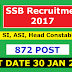 SSB Recruitment 2017  For SI, ASI, Head Constable POST