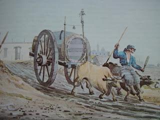 """""""Carro de Aguatero"""" (1818). Acuarela de Emeric Essex Vidal."""