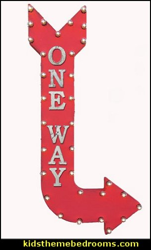 ONE WAY Enter Here Only Caution Traffic Directions Double Sided Hanging Suspended Hang Rustic Metal Marquee Arrow Light Up Sign