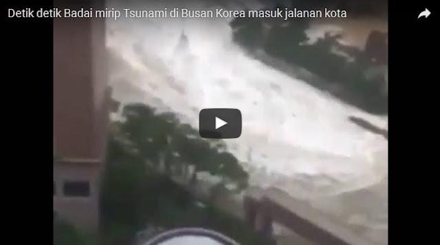 (VIDEO) Detik-detik Air Laut Tumpah ke Daratan, Luluh Lantakkan Kota Busan Korea Selatan