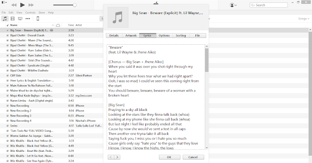Now Click on Lyrics Tab and Paste the Lyrics of that song (You can find Lyrics on Google) You can also add Picture of your favorite artist by going to Artwork section.