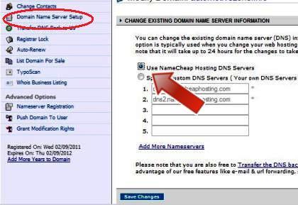 namecheap panel setting up domain to blogger
