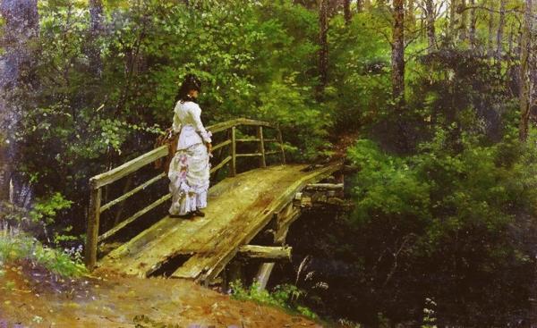 Илья Репин Летний пейзаж (Вера Алексеевна Репина на мостике в Абрамцеве)