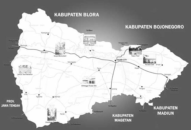 Gambar Peta Ngawi Hitam Putih