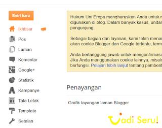 Menu blogger yang ada sebelum ada menu adsense