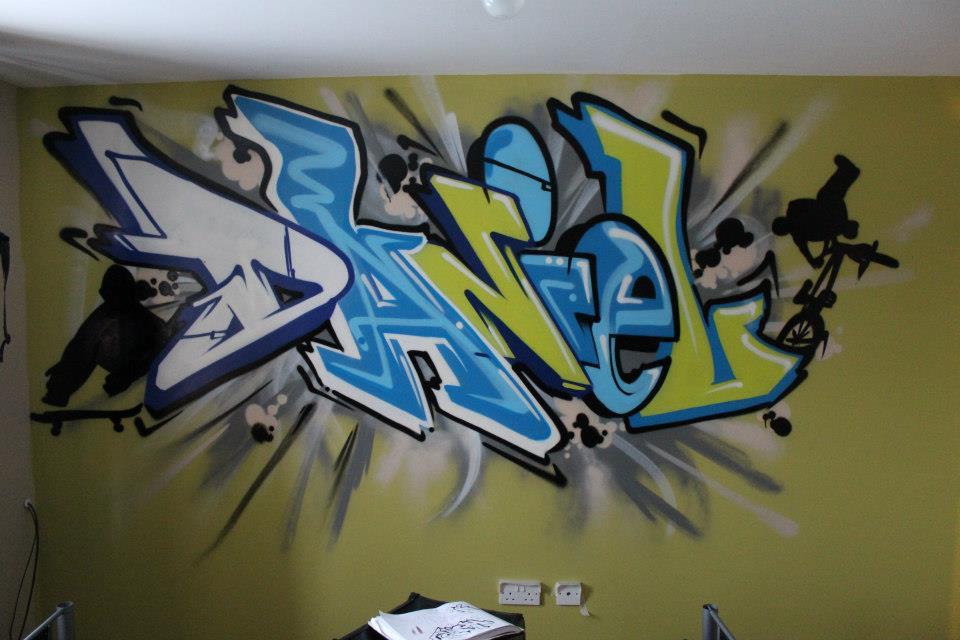 .: Graffiti Bedroom Wallpaper