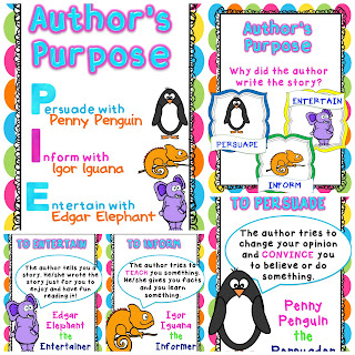 Freebie Author's Purpose Posters - unique way to teach what persuade, inform, and entertain mean.