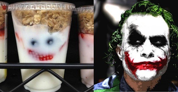 The joker's image seen in a yogurt parfait. It makes good toast. marchmatron.com