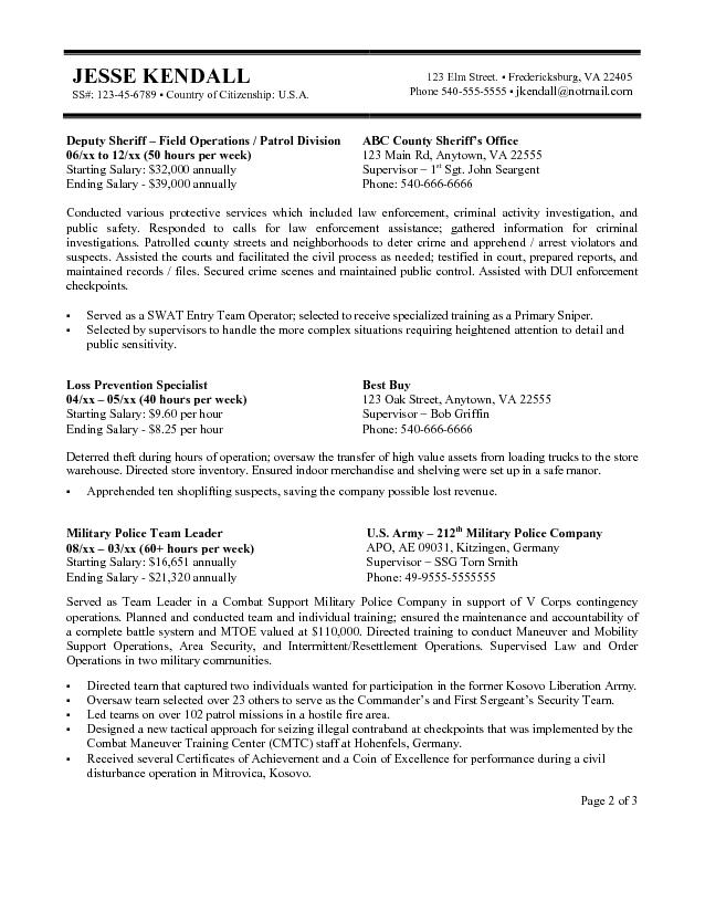 Sample Resume For Gs Jobs - Template