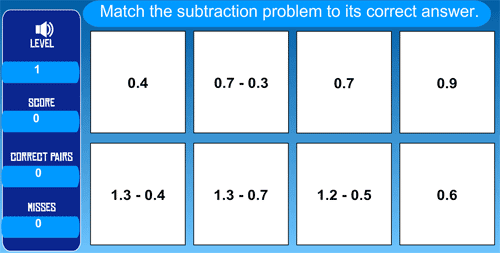 Subtracting decimals exercise