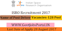 Indian Space Research Organization Recruitment 2017– 128 Driver
