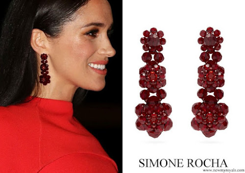 Meghan Markle wore SIMONE ROCHA Floral beaded drop earrings