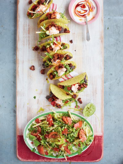 Pork Tacos with spicy black beans and avocado green salad