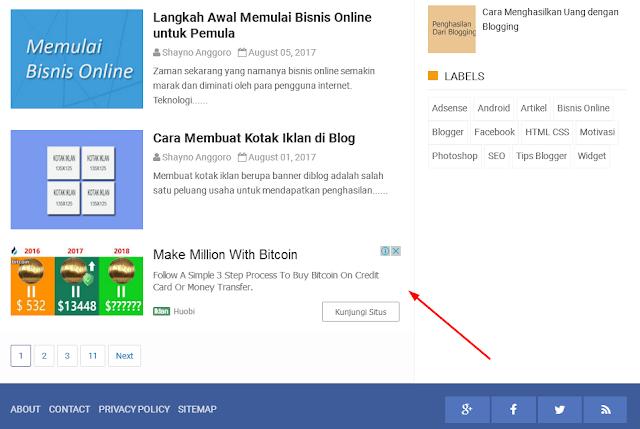 Cara Memasang Iklan In-Feed Ads AdSense di Blog