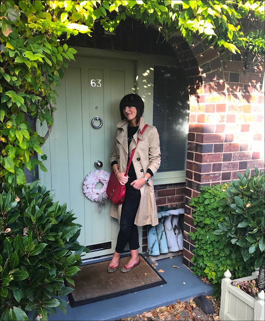 My Midlife Fashion, Massimo Dutti Trench Coat, Cariter Love Bangle, Village England Sway Bag, Bella Freud Je t'aime Jane slogan jumper, zara distressed cigarette jeans, french sole india leopard print ballet shoes