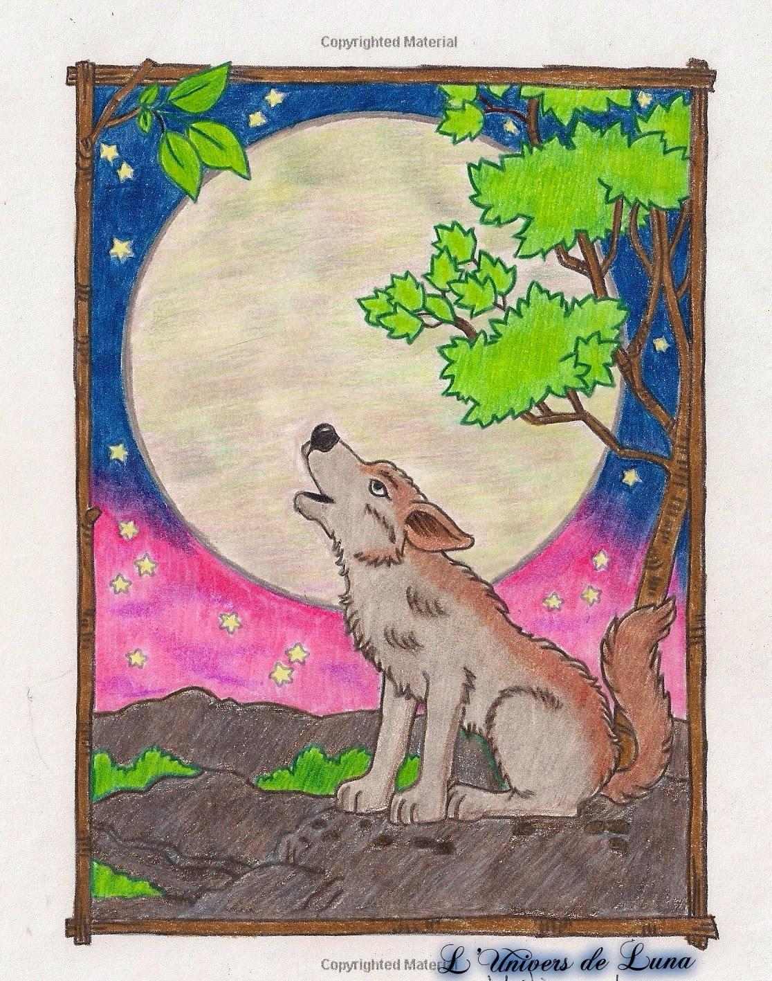 L Univers De Luna Coloriage Loup Qui Hurle A La Lune